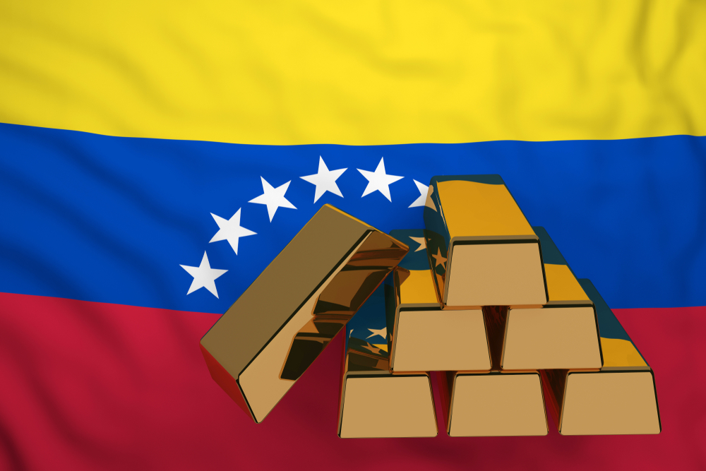 gold bars with venezuela flag